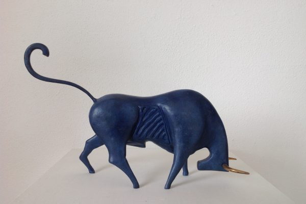 Blue Bull, painted steel and bronze.