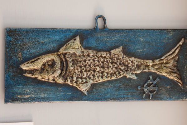 Fish plaque painted steel