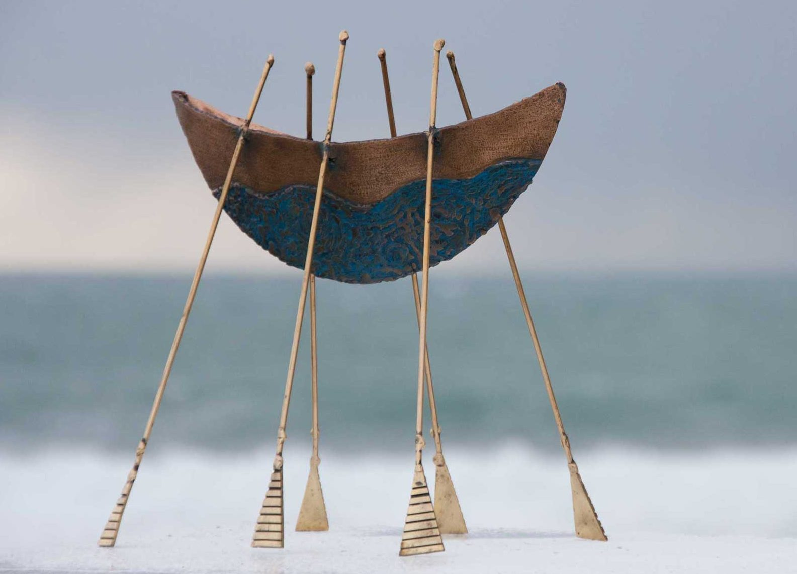 Broighter boat Sculpture bronze and brass