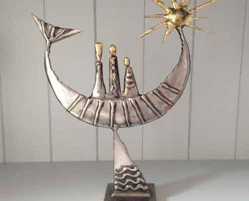 Sun boat steel and brass Sculpture