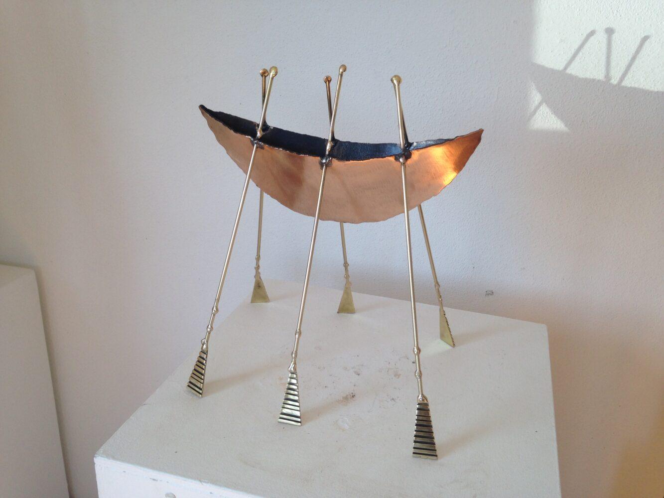 Gold boat Sculpture