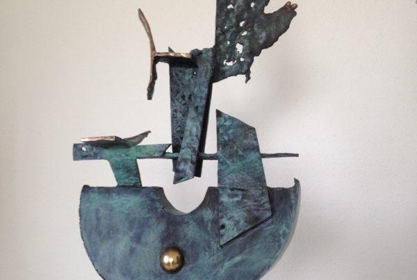 Boat Sculpture Bronze. 500mm high