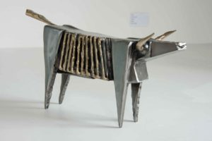 Silver bull polished steel and brass Sculpture