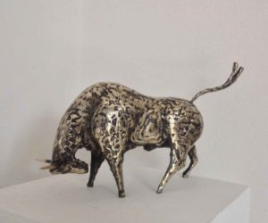 Gold bull steel and bronze Sculpture