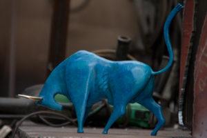 Blue Sculpture bull