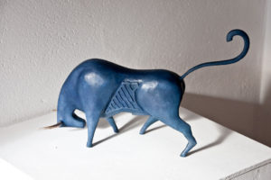 Blue bull Sculpture painted steel and brass