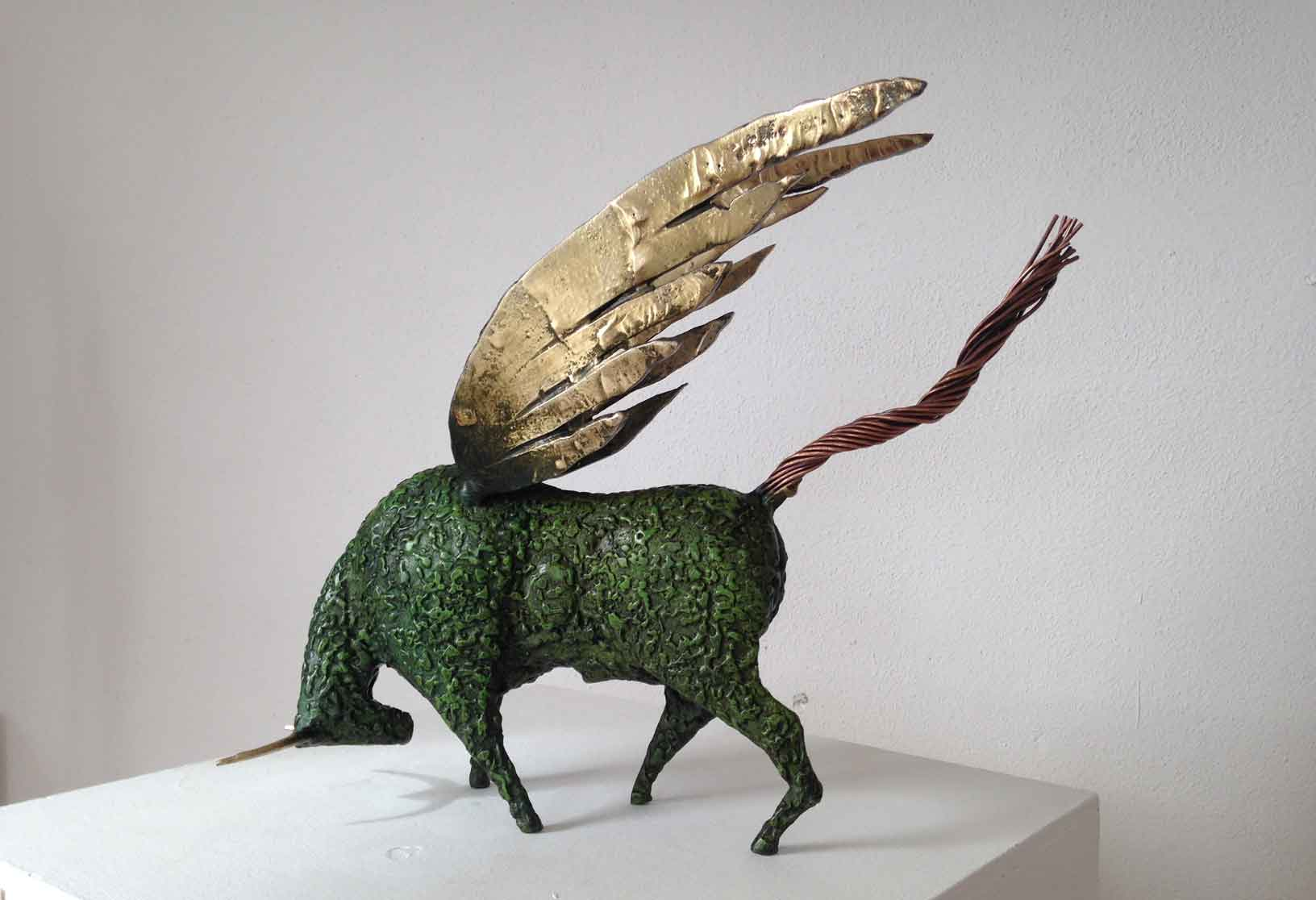 Winged bull painted steel and brass Sculpture
