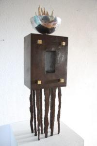 Arelia corten steel aluminium and brass Sculpture