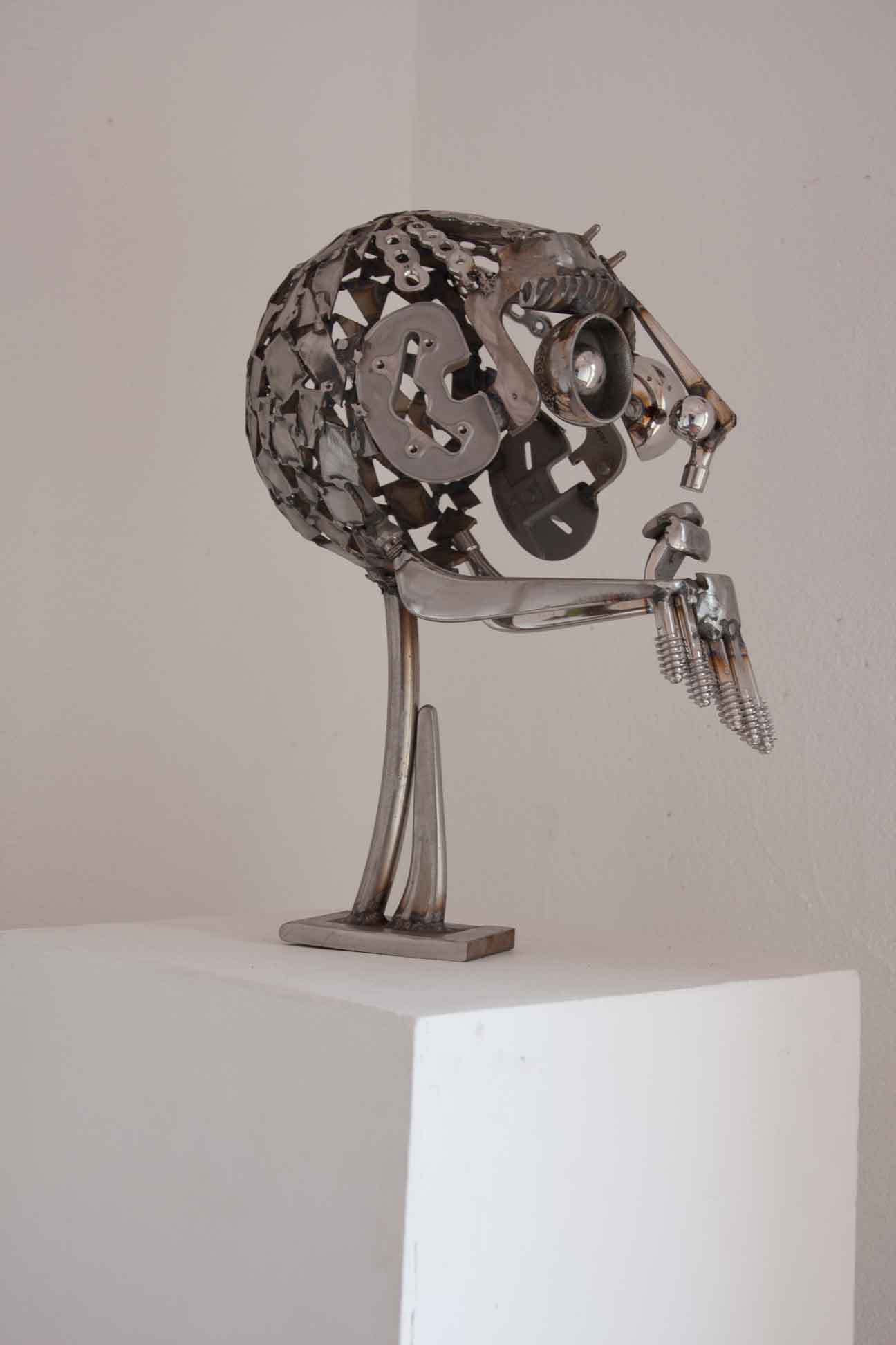 Stainless steal head sculpture
