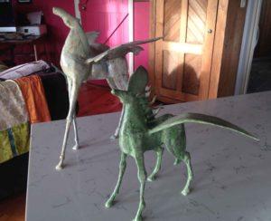 Winged horses Sculpture steel