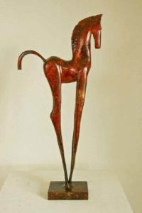 Red horse painted steel Sculpture