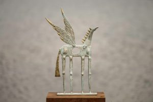 Blue horse steel and brass Sculpture