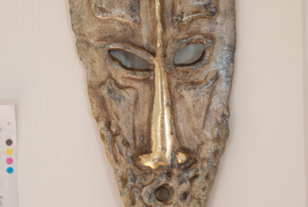 Ancestral head steel and brass Sculpture