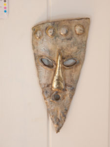 Ancestral head painted steal Sculpture
